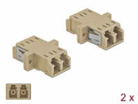 Delock Optical Fiber Coupler LC Duplex female to LC Duplex female Multi-mode 2 pieces beige