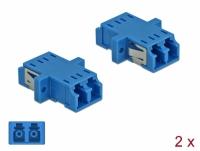 Delock Optical Fiber Coupler LC Duplex female to LC Duplex female Single-mode 2 pieces blue