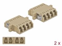 Delock Optical Fiber Coupler LC Quad female to LC Quad female Multi-mode 2 pieces beige