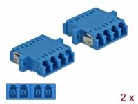Delock Optical Fiber Coupler LC Quad female to LC Quad female Single-mode 2 pieces blue