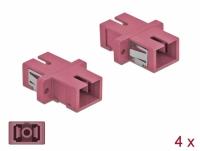 Delock Optical Fiber Coupler SC Simplex female to SC Simplex female Multi-mode 4 pieces violet
