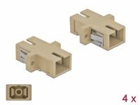 Delock Optical Fiber Coupler SC Simplex female to SC Simplex female Multi-mode 4 pieces beige