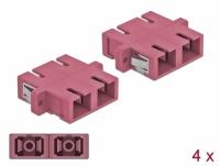 Delock Optical Fiber Coupler SC Duplex female to SC Duplex female Multi-mode 4 pieces violet