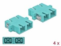 Delock Optical Fiber Coupler SC Duplex female to SC Duplex female Multi-mode 4 pieces light blue