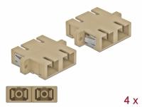 Delock Optical Fiber Coupler SC Duplex female to SC Duplex female Multi-mode 4 pieces beige