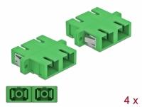Delock Optical Fiber Coupler SC Duplex female to SC Duplex female Single-mode 4 pieces green