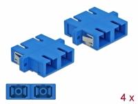 Delock Optical Fiber Coupler SC Duplex female to SC Duplex female Single-mode 4 pieces blue