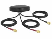 Delock LTE MIMO Dual Band WLAN 802.11 ac/ax/a/h/b/g/n Antenna 3 x SMA plug RG-174 1 m screw mounting outdoor black