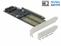 Delock PCI Express x16 Card to 1 x M.2 Key B + 1 x NVMe M.2 Key M + 1 x mSATA - Low Profile Form Factor