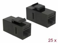 Delock Keystone Module RJ45 jack > RJ45 jack Cat.6 UTP black 25 pieces