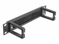 Delock 10″ Cable Management Brush Strip with 2 hooks 1U black