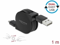 Delock Retractable Cable EASY-USB 2.0 Type-A to EASY-USB 2.0 Type Micro-B black