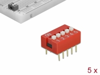 Delock DIP sliding switch 5-digit 2.54 mm pitch THT vertical red 5 pieces