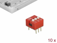Delock DIP sliding switch 3-digit 2.54 mm pitch THT vertical red 10 pieces