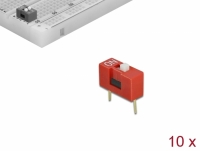 Delock DIP sliding switch 1-digit 2.54 mm pitch THT vertical red 10 pieces