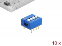 Delock DIP sliding switch 4-digit 2.54 mm pitch THT vertical blue 10 pieces