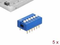Delock DIP sliding switch 6-digit 2.54 mm pitch THT vertical blue 5 pieces
