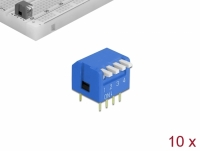 Delock DIP flip switch piano 4-digit 2.54 mm pitch THT vertical blue 10 pieces