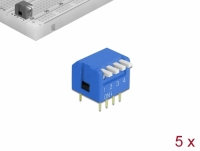 Delock DIP flip switch piano 4-digit 2.54 mm pitch THT vertical blue 5 pieces