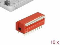 Delock DIP flip switch piano 10-digit 2.54 mm pitch THT vertical red 10 pieces