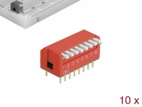 Delock DIP flip switch piano 8-digit 2.54 mm pitch THT vertical red 10 pieces