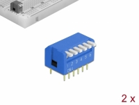 Delock DIP flip switch piano 6-digit 2.54 mm pitch THT vertical blue 2 pieces