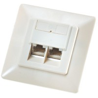 ROLINE Flush Mount Wall Jack, Cat.5e, unshielded ivory