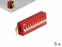 Delock DIP sliding switch 10-digit 2.54 mm pitch THT angled red 5 pieces