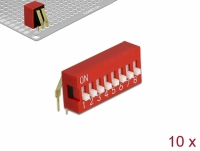 Delock DIP sliding switch 8-digit 2.54 mm pitch THT angled red 10 pieces