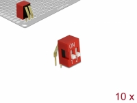 Delock DIP sliding switch 2-digit 2.54 mm pitch THT angled red 10 pieces