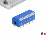 Delock DIP flip switch piano 10-digit 2.54 mm pitch THT vertical blue 5 pieces