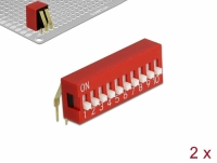 Delock DIP sliding switch 10-digit 2.54 mm pitch THT angled red 2 pieces