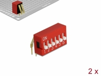 Delock DIP sliding switch 6-digit 2.54 mm pitch THT angled red 2 pieces