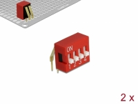 Delock DIP sliding switch 4-digit 2.54 mm pitch THT angled red 2 pieces
