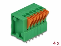 Delock Terminal block with push button for PCB 6 pin 2.54 mm pitch vertical 4 pieces