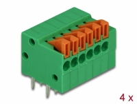 Delock Terminal block with push button for PCB 6 pin 2.54 mm pitch horizontal 4 pieces