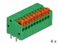 Delock Terminal block with push button for PCB 10 pin 2.54 mm pitch horizontal 4 pieces