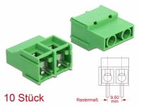 Delock Terminal block for PCB soldering version 2 pin 9.50 mm pitch vertical 10 pieces