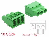 Delock Terminal block for PCB soldering version 3 pin 6.35 mm pitch vertical 10 pieces