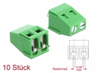 Delock Terminalblock für Platine Lötversion 2 Pin 5,08 mm Rastermaß vertikal 10 Stück