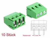 Delock Terminal block for PCB soldering version 3 pin 5.00 mm pitch vertical 10 pieces
