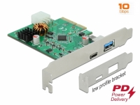 Delock PCI Express x4 Card to 1 x external USB Type-C™ female with PD function + 1 x external USB Type-A female SuperSpeed USB 1