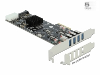 Delock PCI Express x4 Card to 4 x external SuperSpeed USB (USB 3.2 Gen 1) USB Type-A female Quad Channel - Low Profile Form Fact