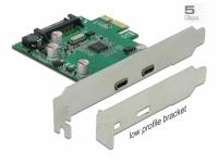 Delock PCI Express x1 Card to 2 x external SuperSpeed USB (USB 3.2 Gen 1) USB Type-C™ female