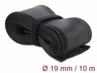 Delock Braided Sleeving with Hook-and-Loop Fastener 10 m x 19 mm black