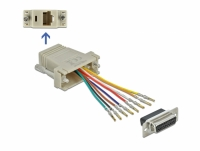 Delock Adapter Sub-D 15 pin female to RJ45 female Assembly Kit grey