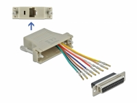Delock Adapter Sub-D 25 pin female to RJ45 female Assembly Kit grey