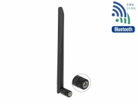 Delock WLAN 802.11 ac/ax/a/b/g/n Antenna RP-SMA plug 5 dBi 20 cm omnidirectional with tilt joint flexible and rubber surface bla