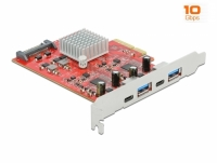 Delock PCI Express x4 Card to SuperSpeed USB 10 Gbps with 2 x USB Type-A and 2 x USB Type-C™ - Dual Channel