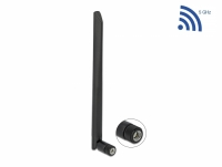 Delock WLAN 802.11 ac/ax/a Antenna RP-SMA plug 5 dBi 20 cm omnidirectional with tilt joint and flexible material black